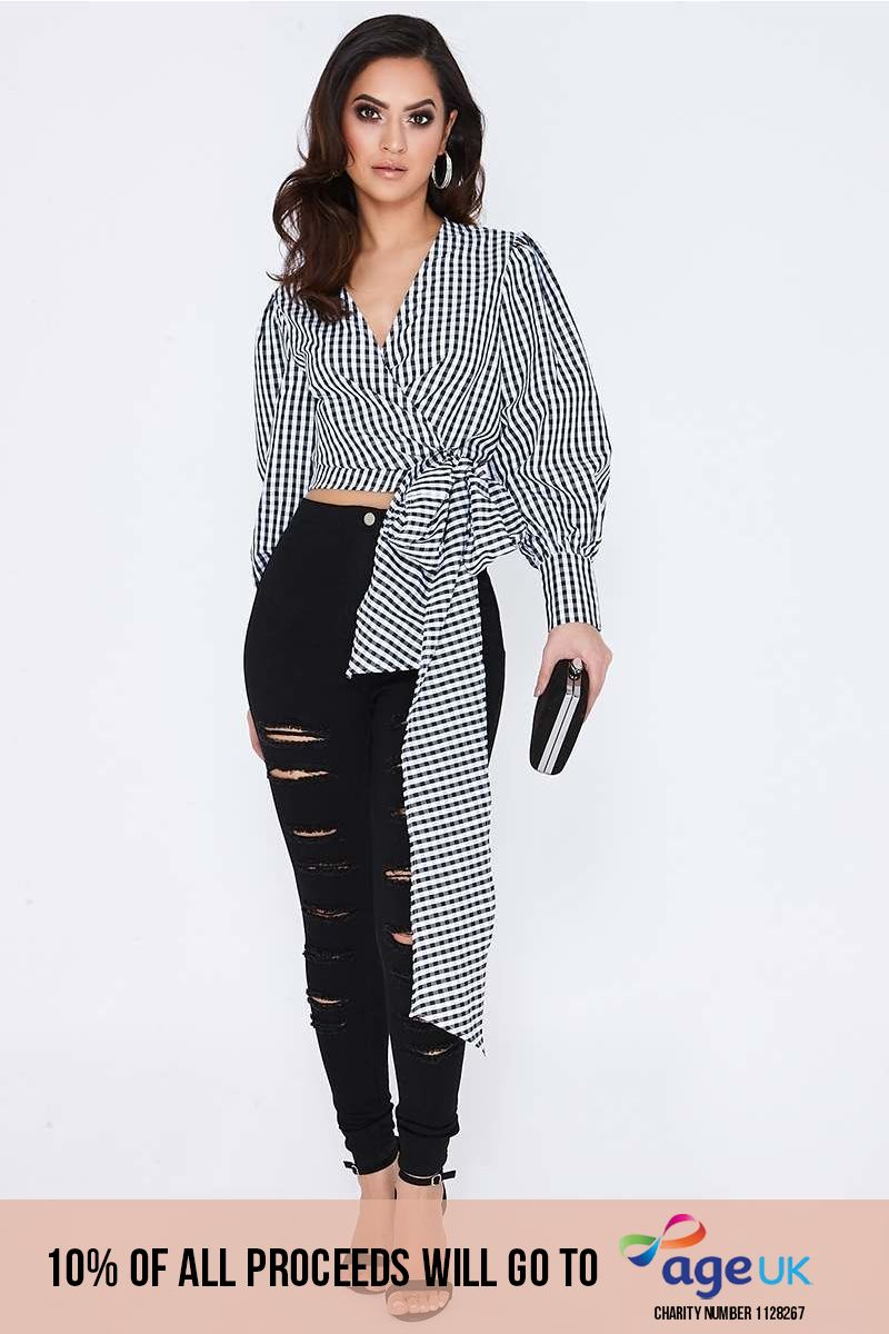 black check long sleeve wrap tie front top