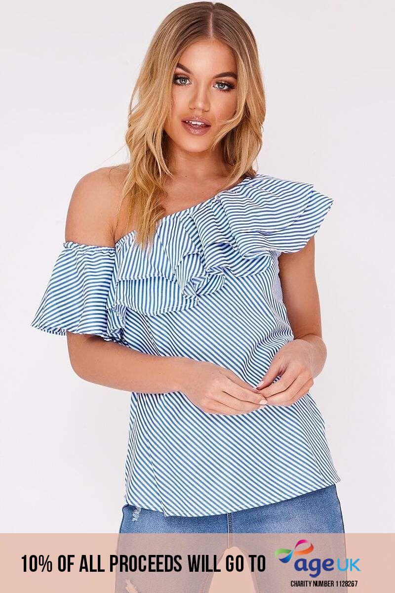 blue stripe asymmetric bardot frill top