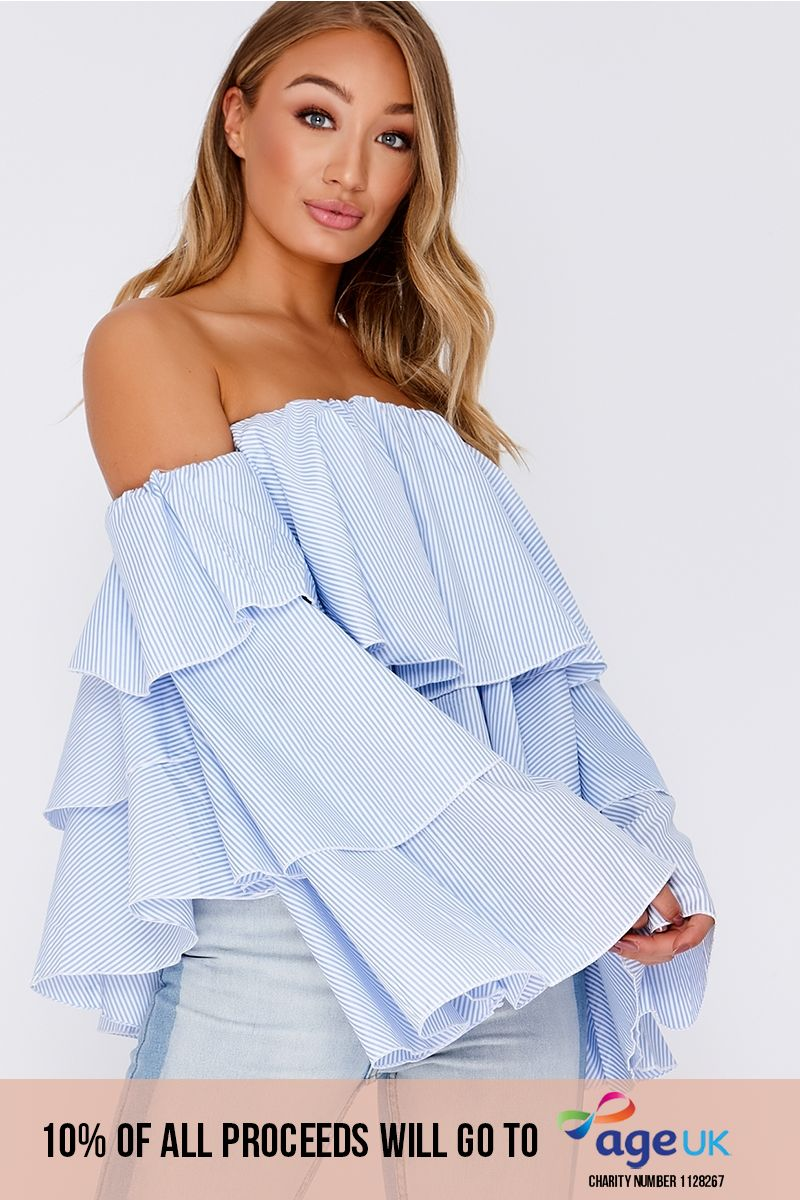 blue stripe frill layered bardot top