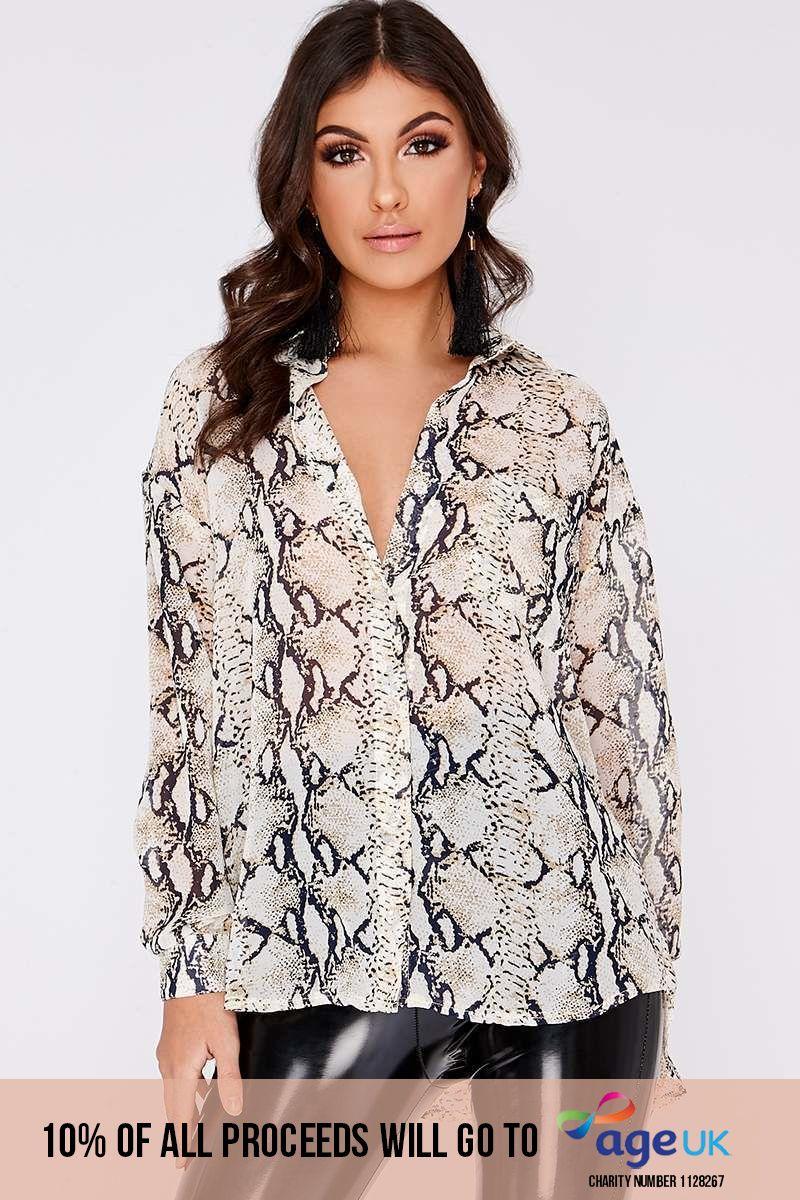 snake print chiffon shirt