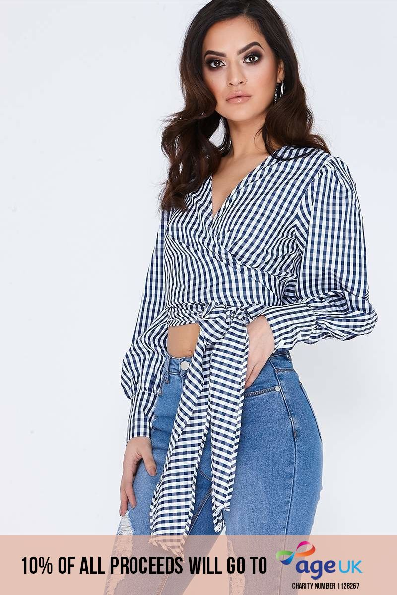 navy check long sleeve wrap tie front top