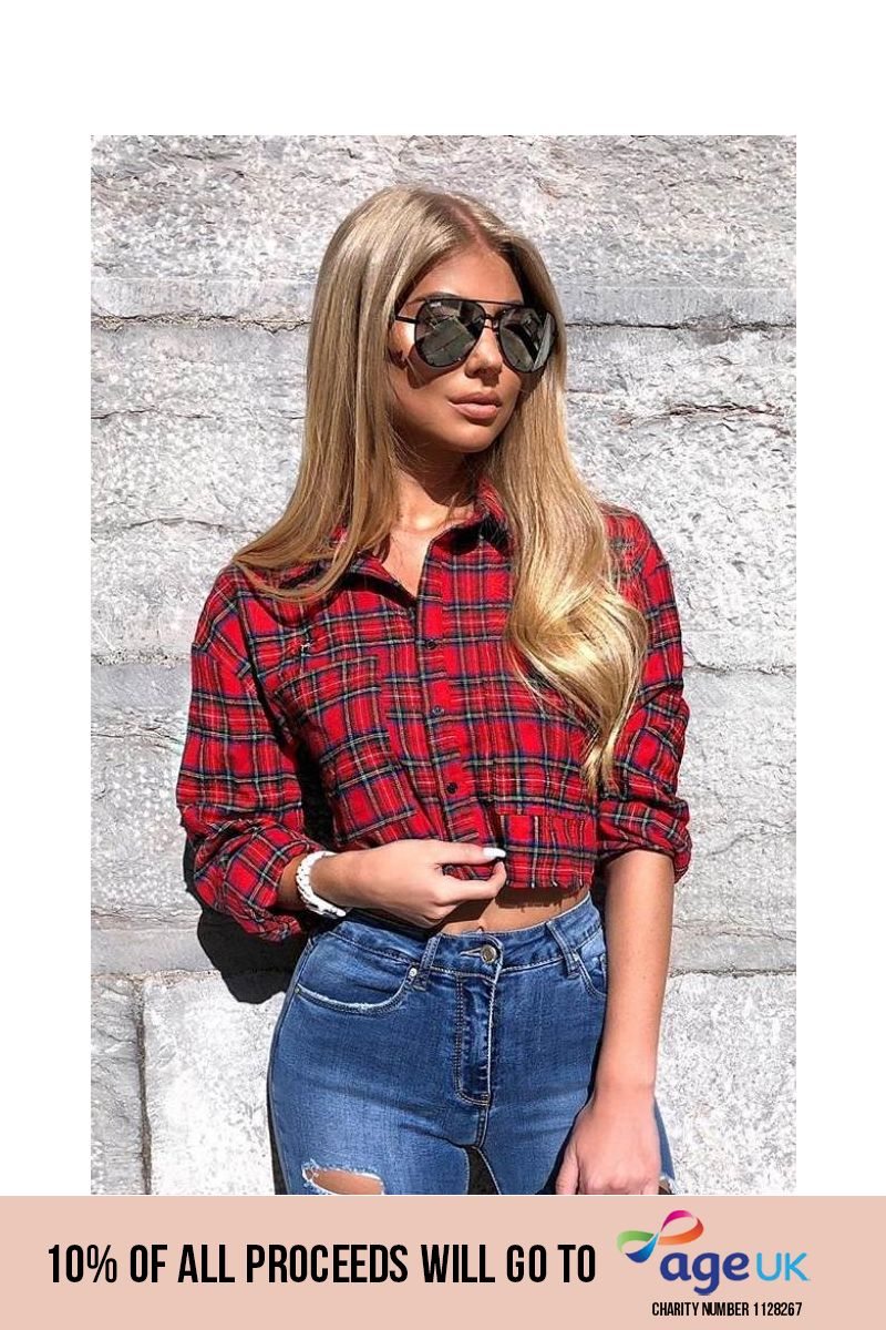red check frayed edge cropped shirt