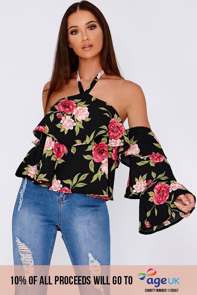 black floral halterneck frill layered top