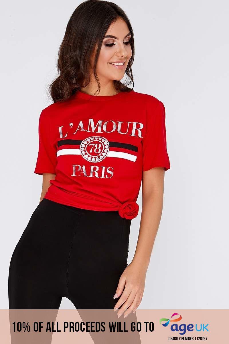 L'AMOUR RED SLOGAN TSHIRT