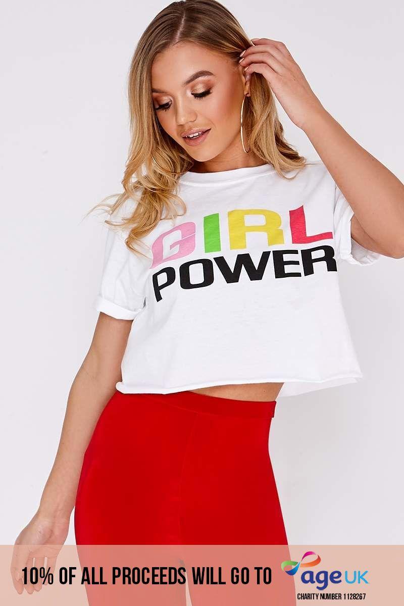 GIRL POWER WHITE CROPPED TSHIRT