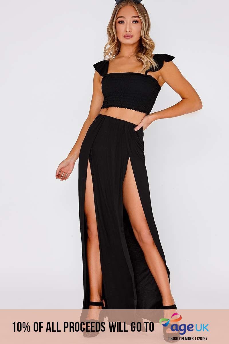 black basic front split maxi skirt