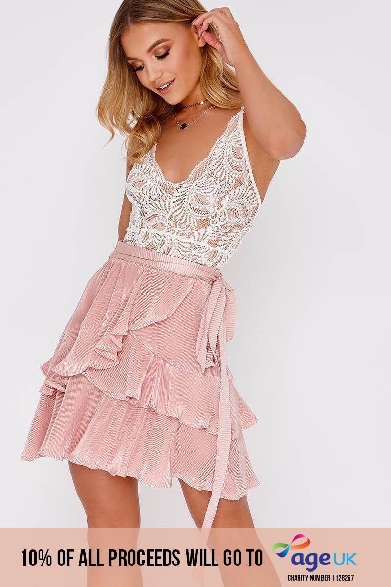 nude pleated frill layer mini skirt