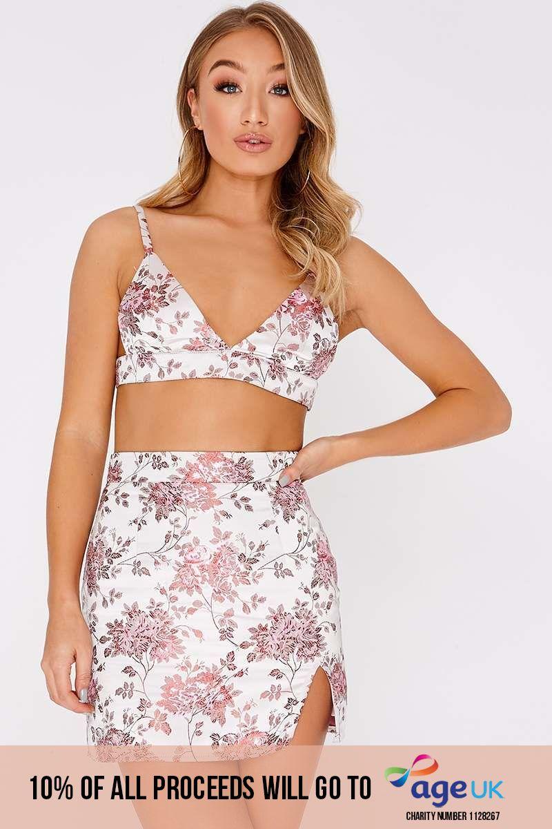 pink oriental jaquard split front mini skirt