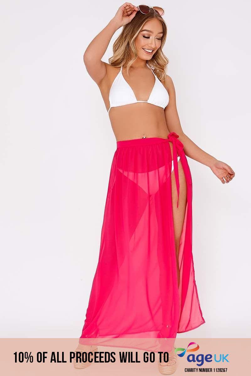 pink chiffon tie side maxi skirt