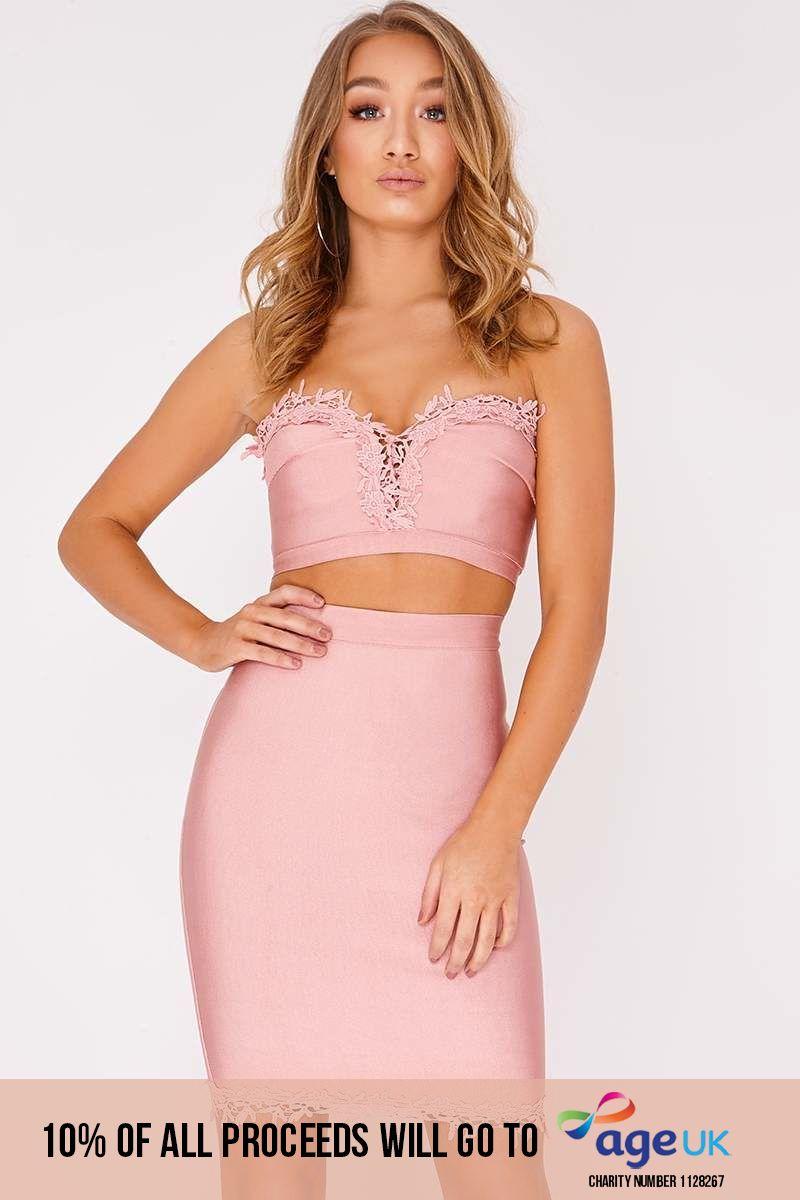 rose crochet trim bandage skirt