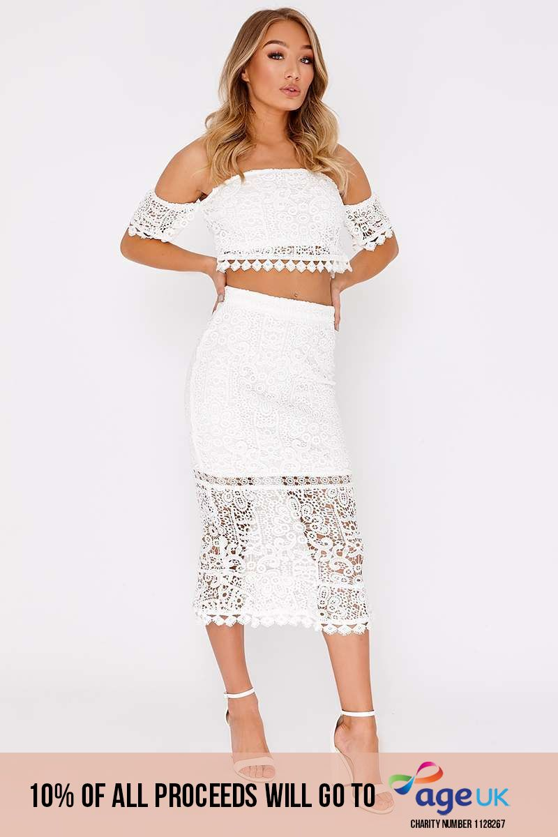 white lace midi skirt