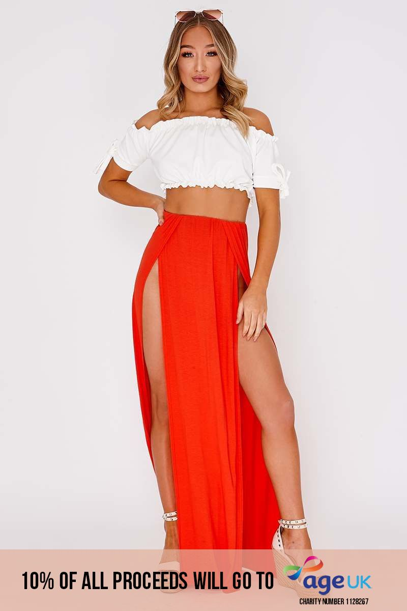 orange basic front split maxi skirt