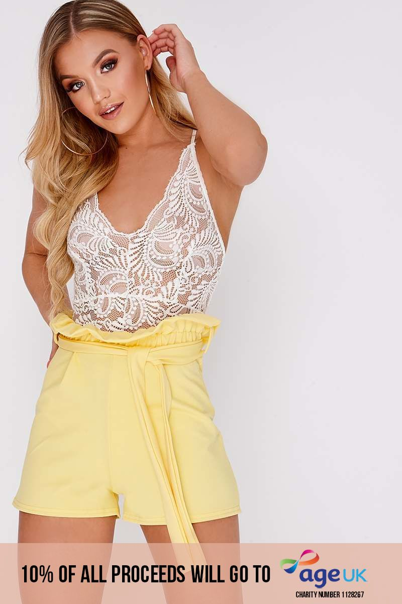 yellow high waisted paperbag shorts