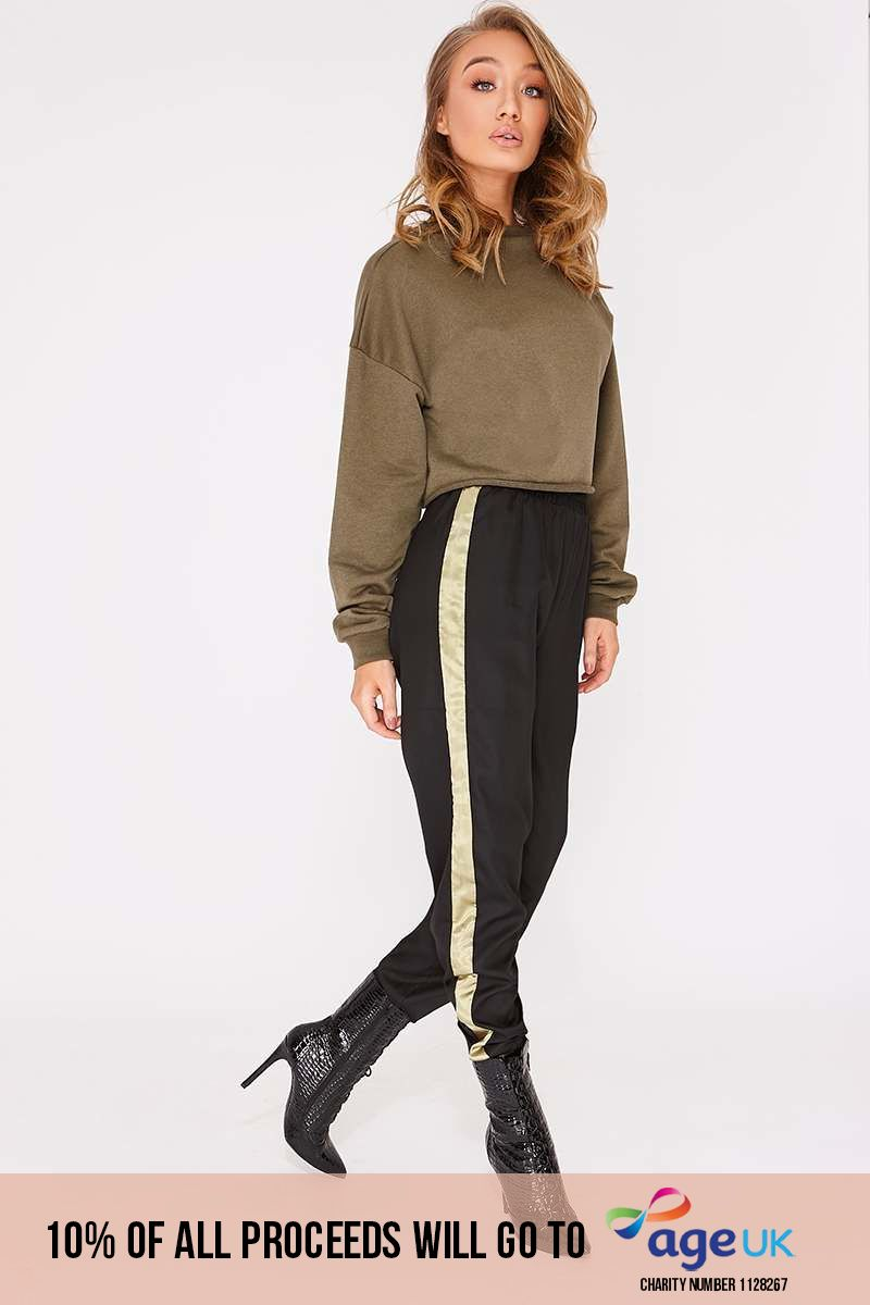 black cargo stripe trousers