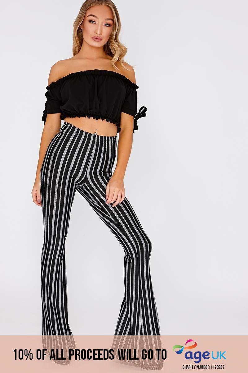 lee black stripe flare leg trousers