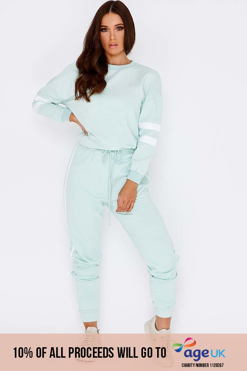 mint green sports stripe joggers