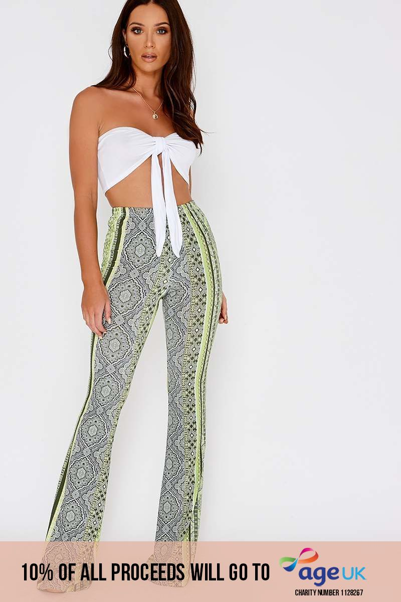 lee green paisley print slinky flare leg trousers