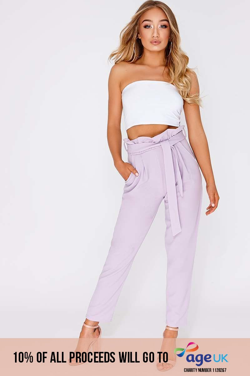 lilac paperbag skinny trousers