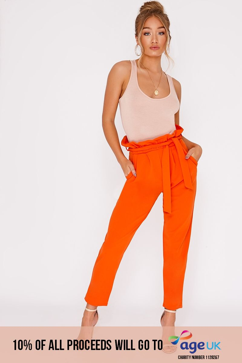 orange paperbag skinny trousers