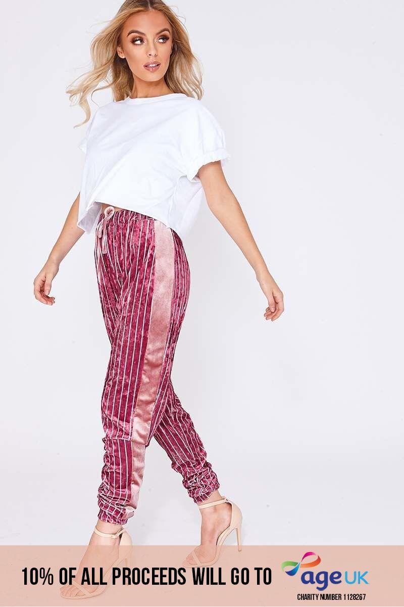 pink stripe velvet drawstring waist trousers