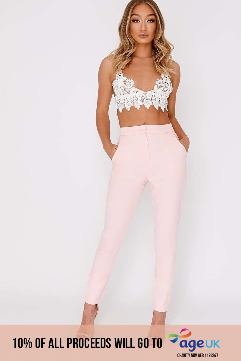 baby pink high waisted trousers