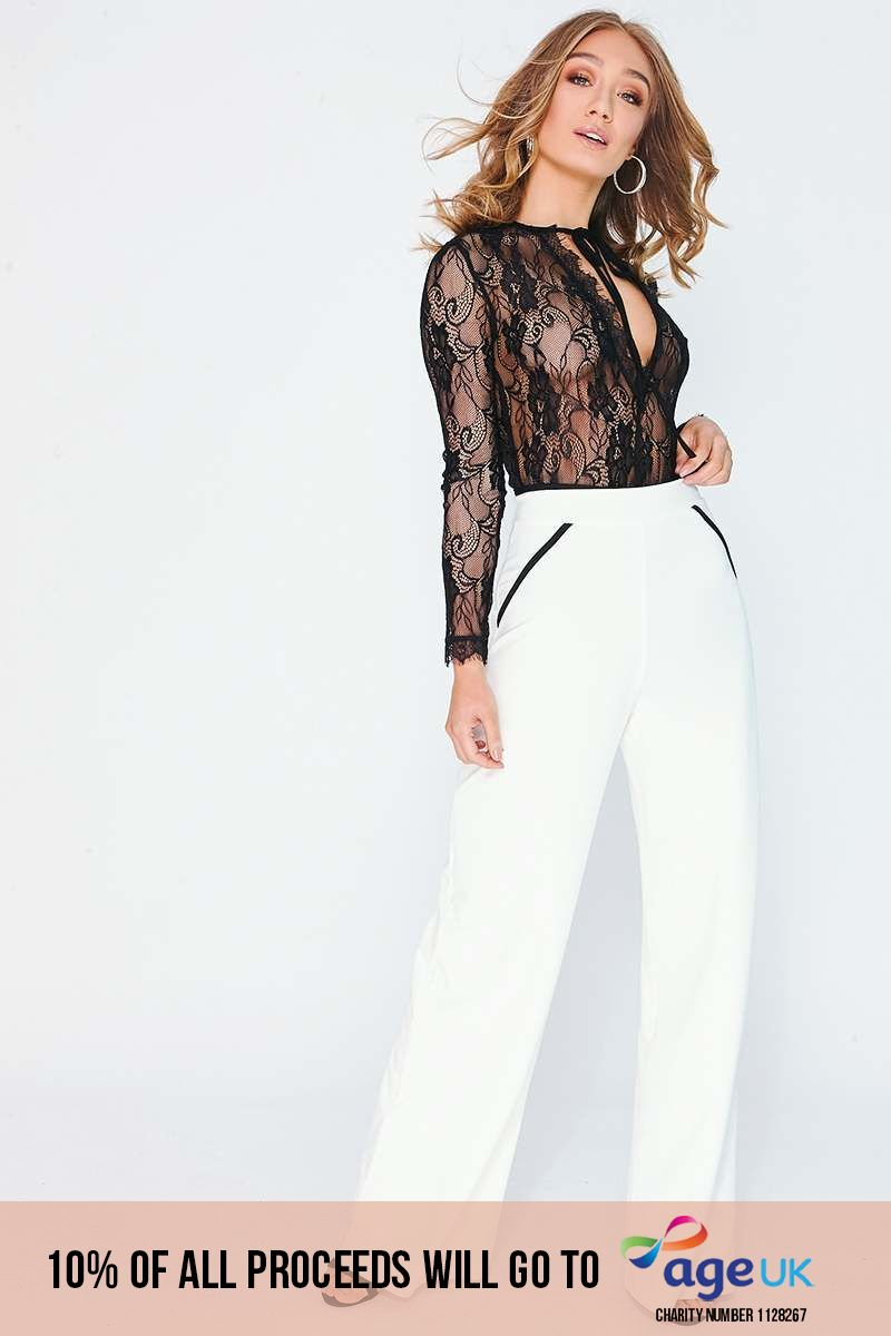 white piping detail trousers