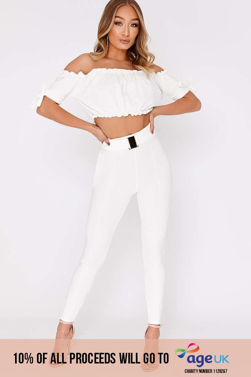 white buckle detail high waisted trousers