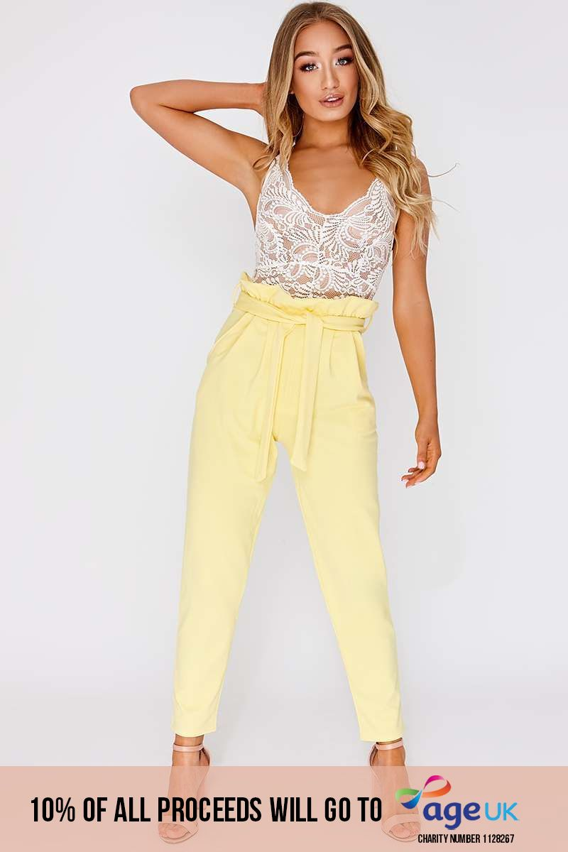 yellow paperbag skinny trousers