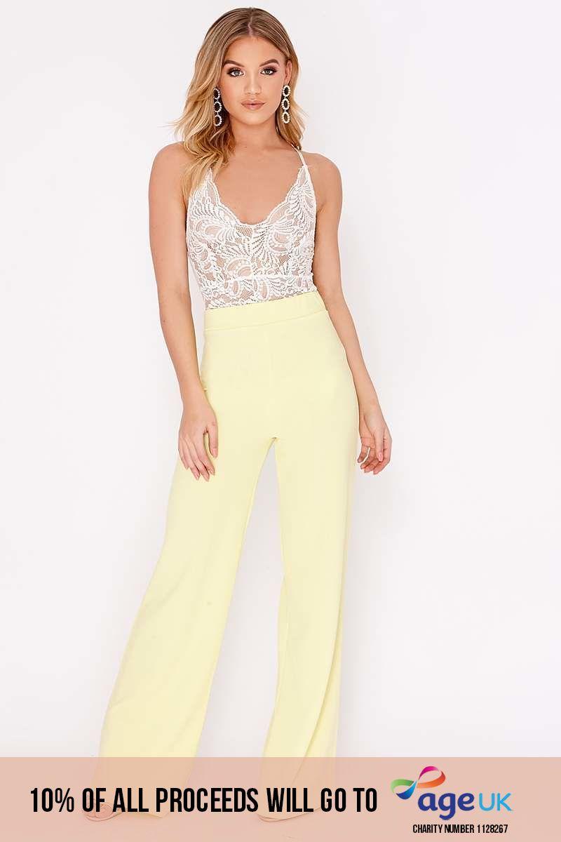 lemon crepe wide leg trousers