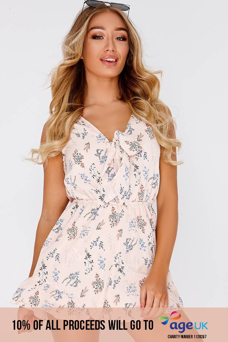 nude floral tie front playsuit