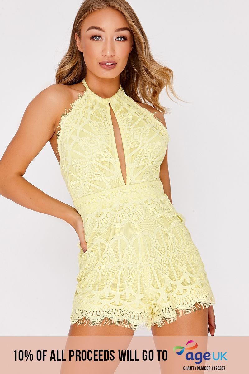 yellow crochet lace halterneck backless playsuit