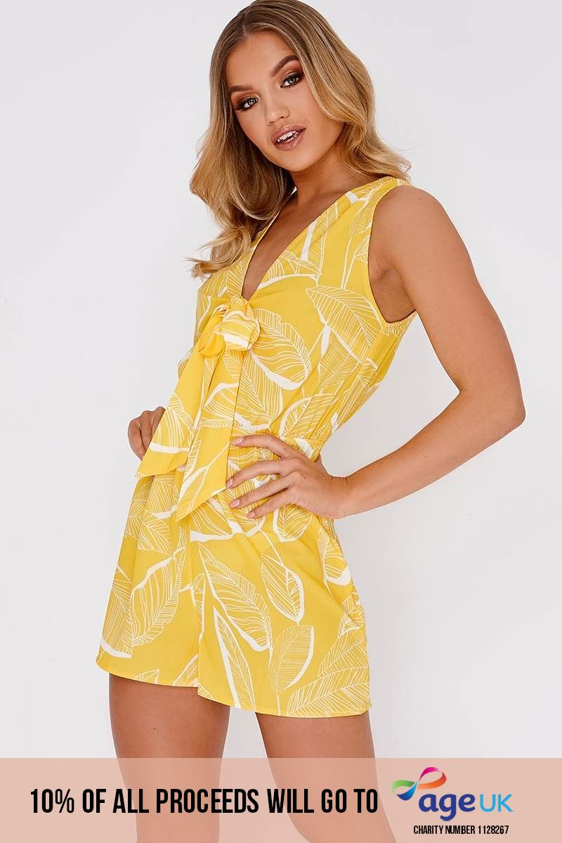 yellow leaf print tie front playsuit