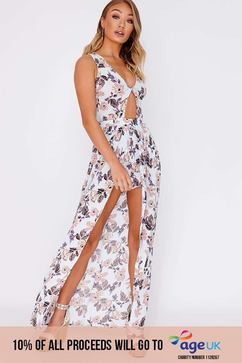 blue floral plunge waterfall playsuit