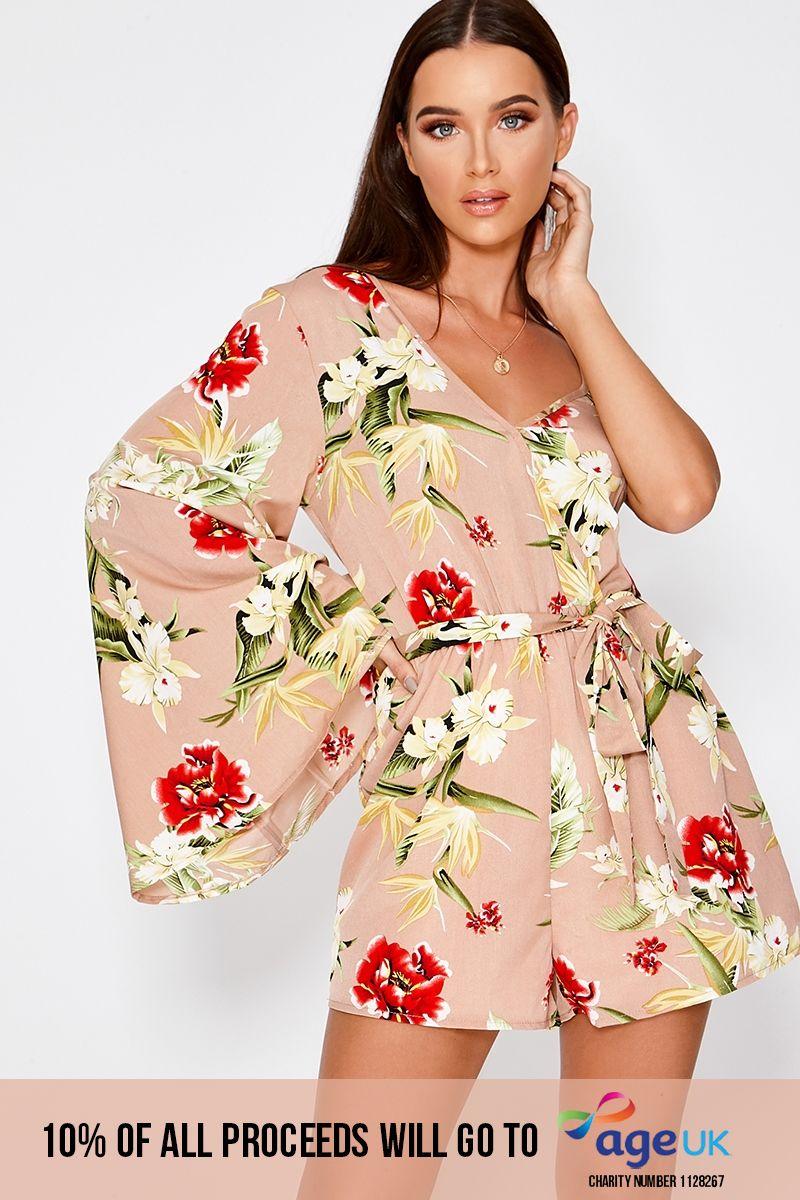 nude floral one shoulder playsuit