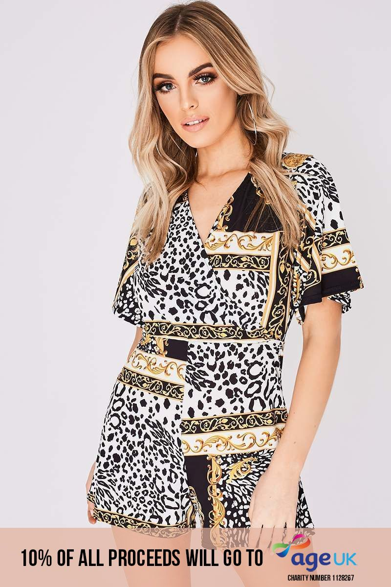 black scarf print wrap front playsuit
