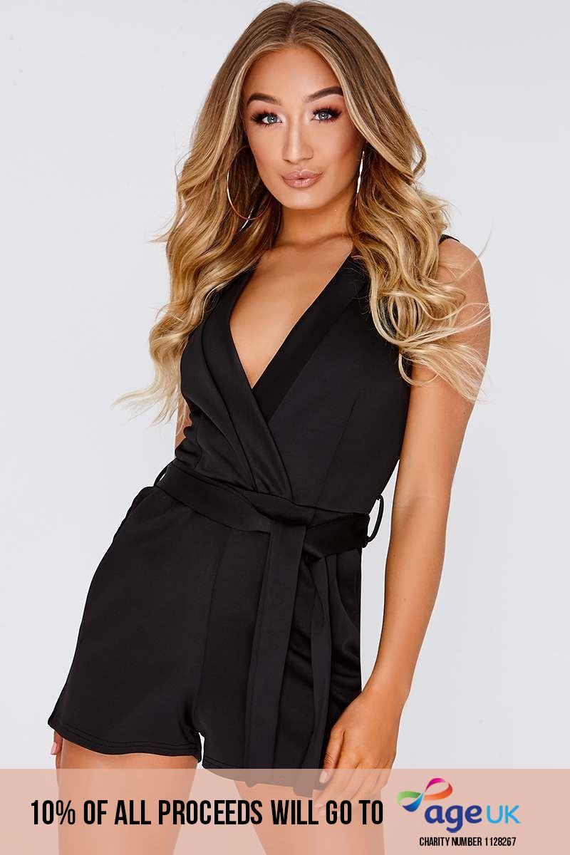 EMIA BLACK PLUNGE TIE FRONT WRAP PLAYSUIT