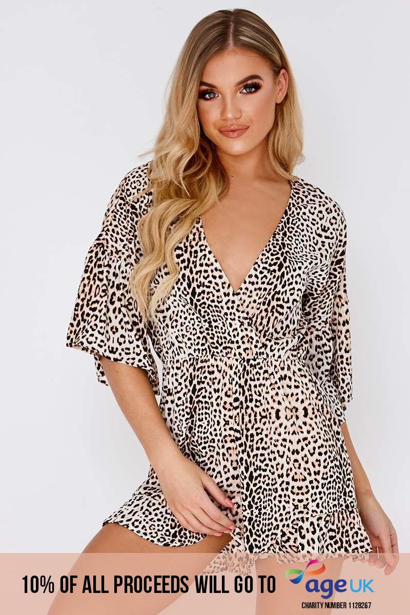leopard print frill wrap playsuit