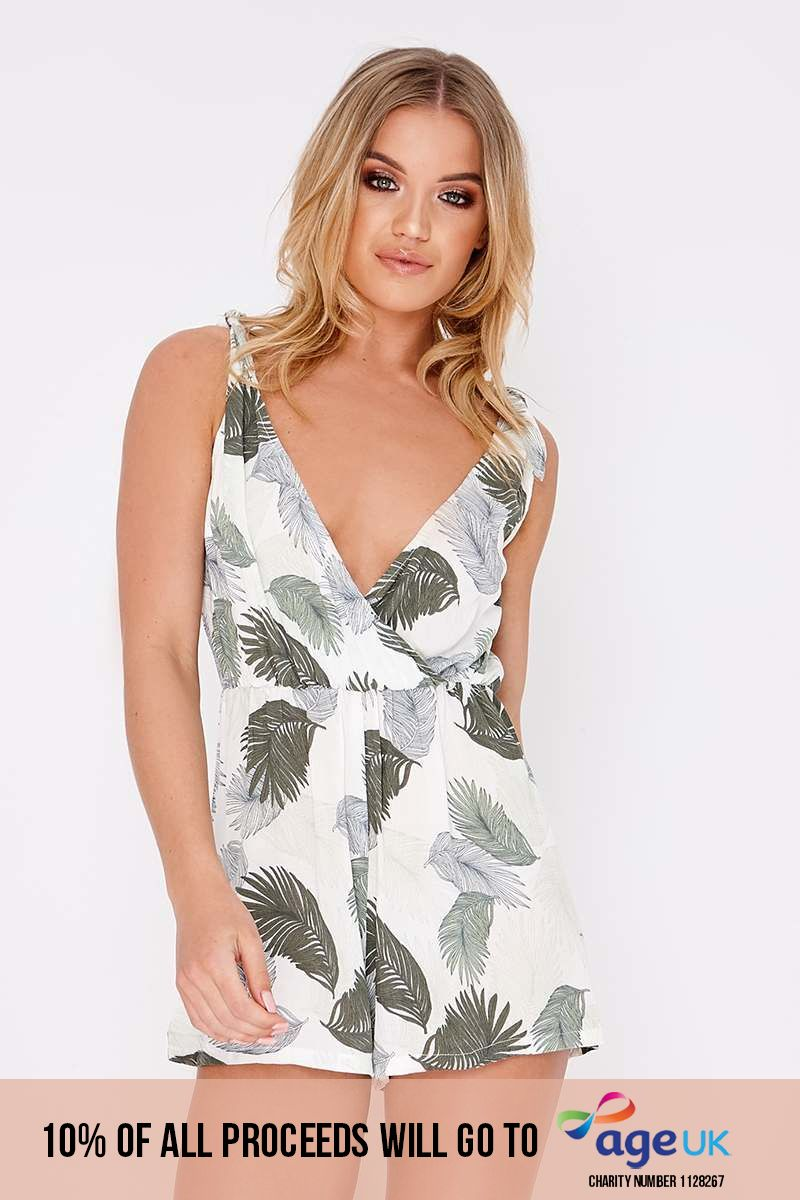 green palm print tie plunge playsuit