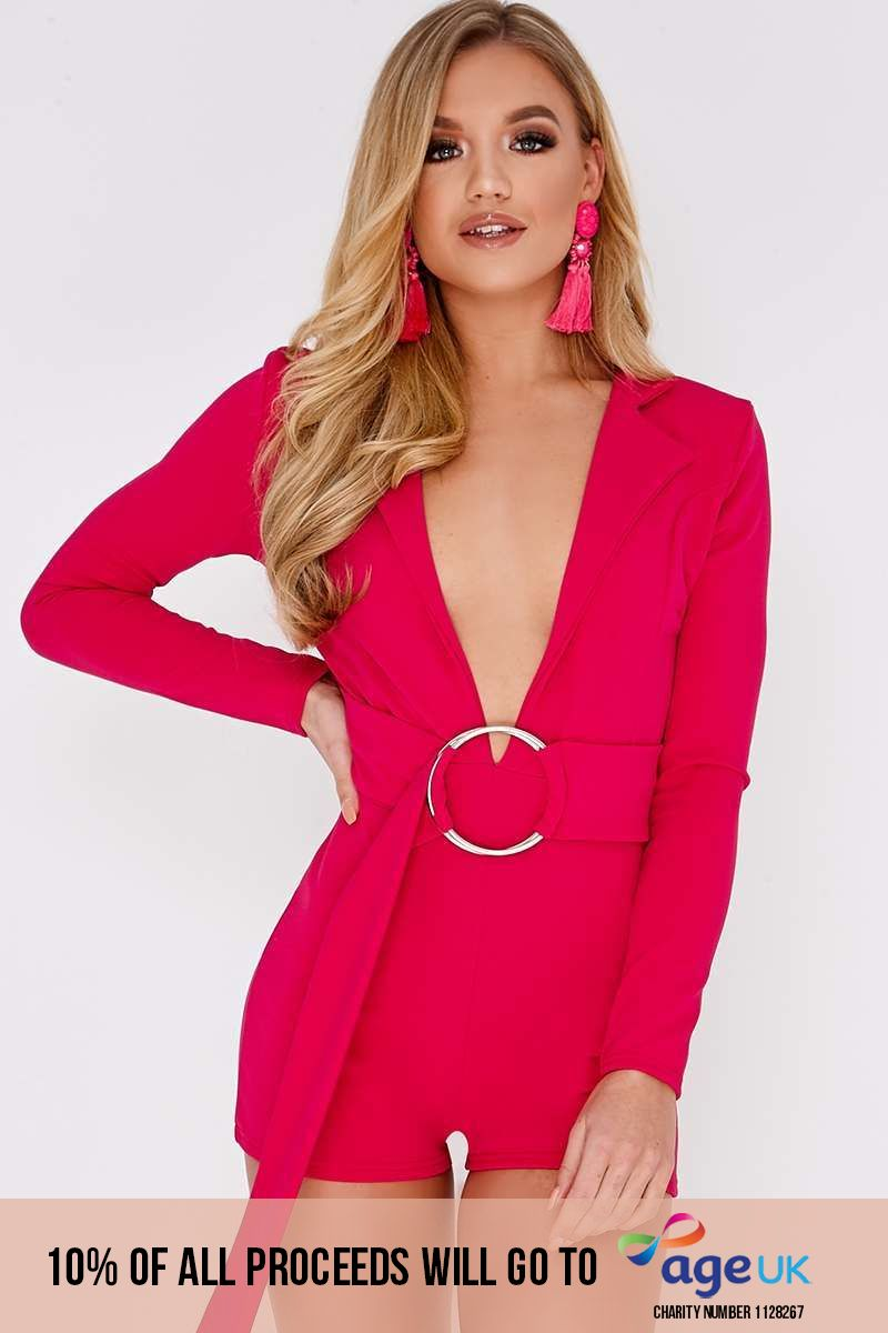 pink plunge blazer ring detail playsuit