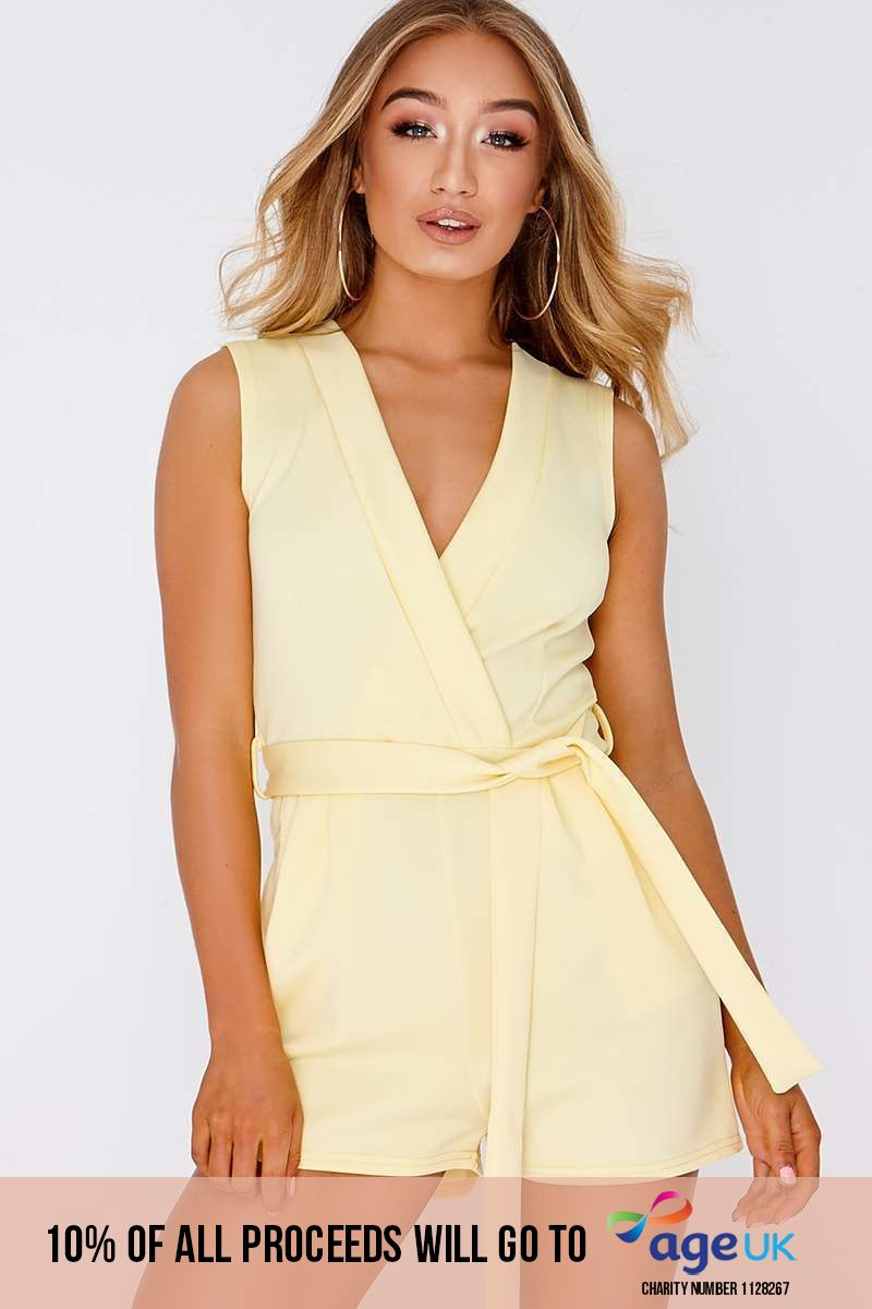 yellow plunge tie front wrap playsuit