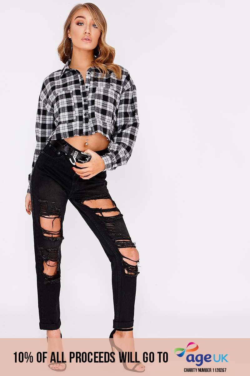 ACACIA BLACK HIGH WAISTED DISTRESSED MOM JEANS