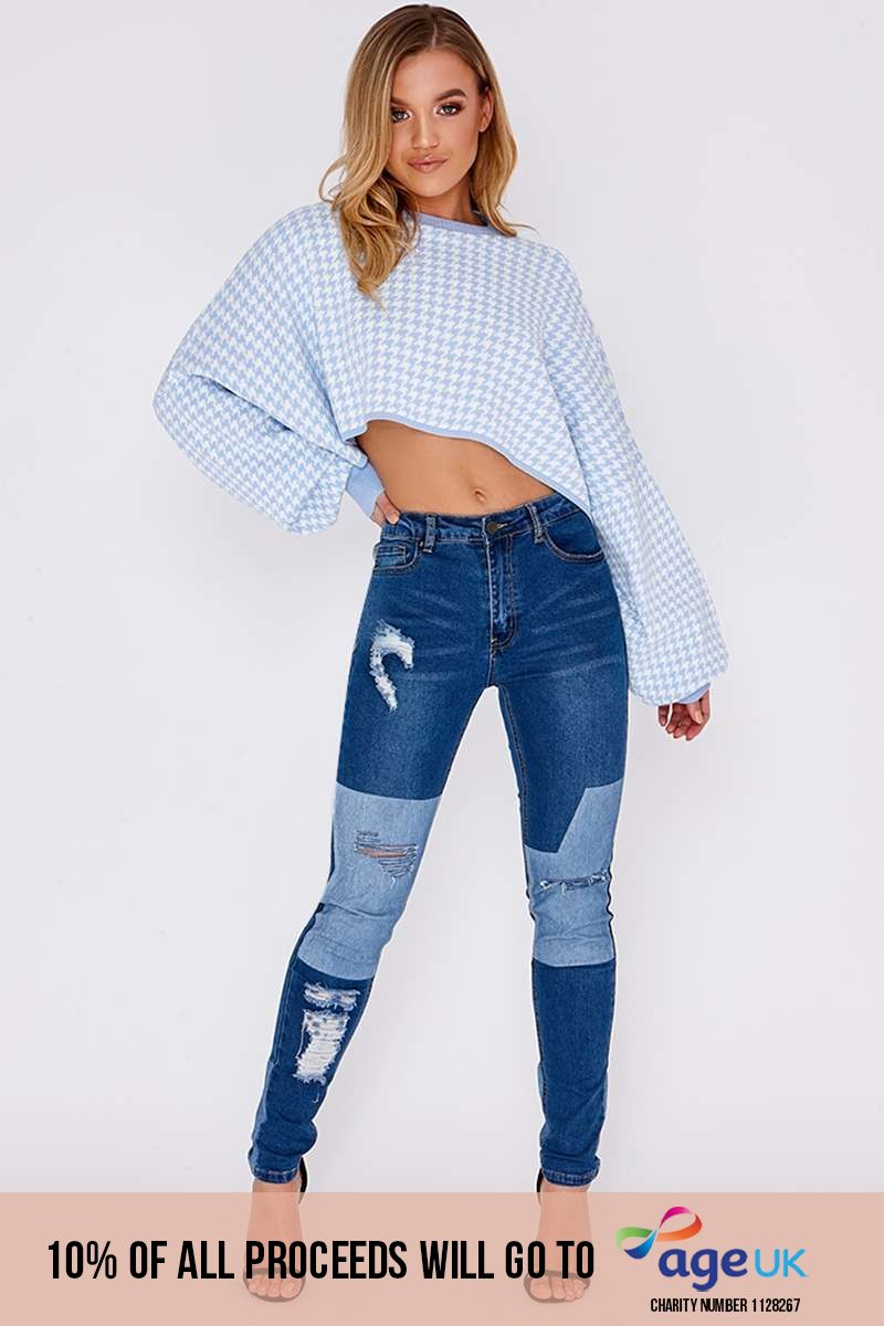 EVORA MID WASH PATCHWORK RIPPED SKINNY JEANS