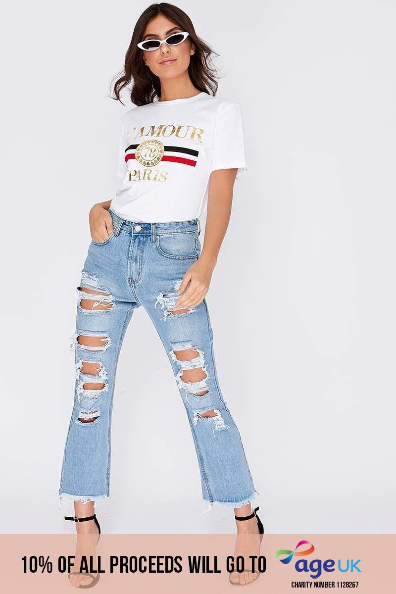 light wash extreme distressed boyfriend jeans