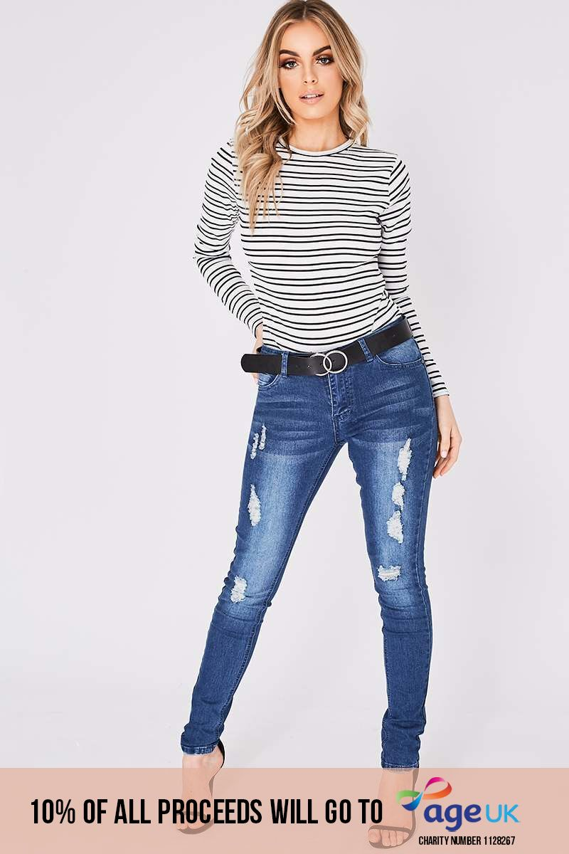 mid wash distressed skinny jeans