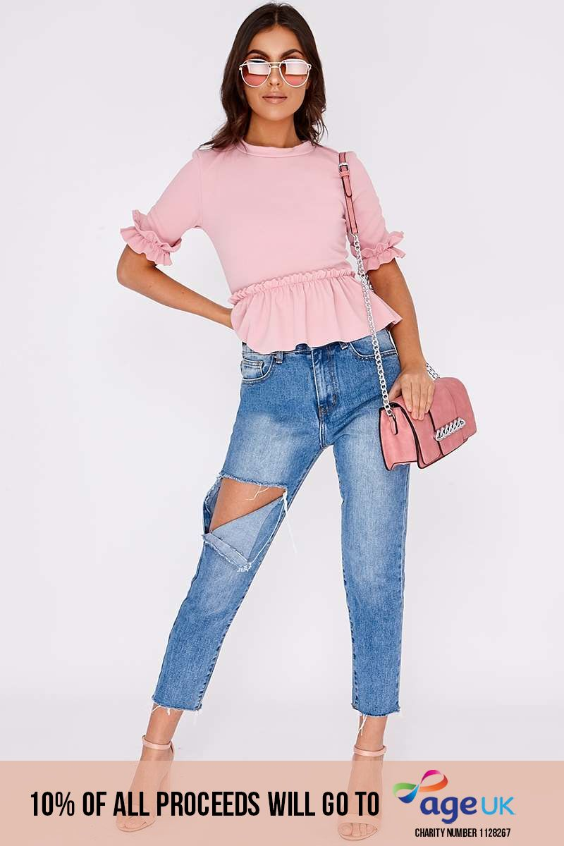 light wash high waisted distressed mom jeans