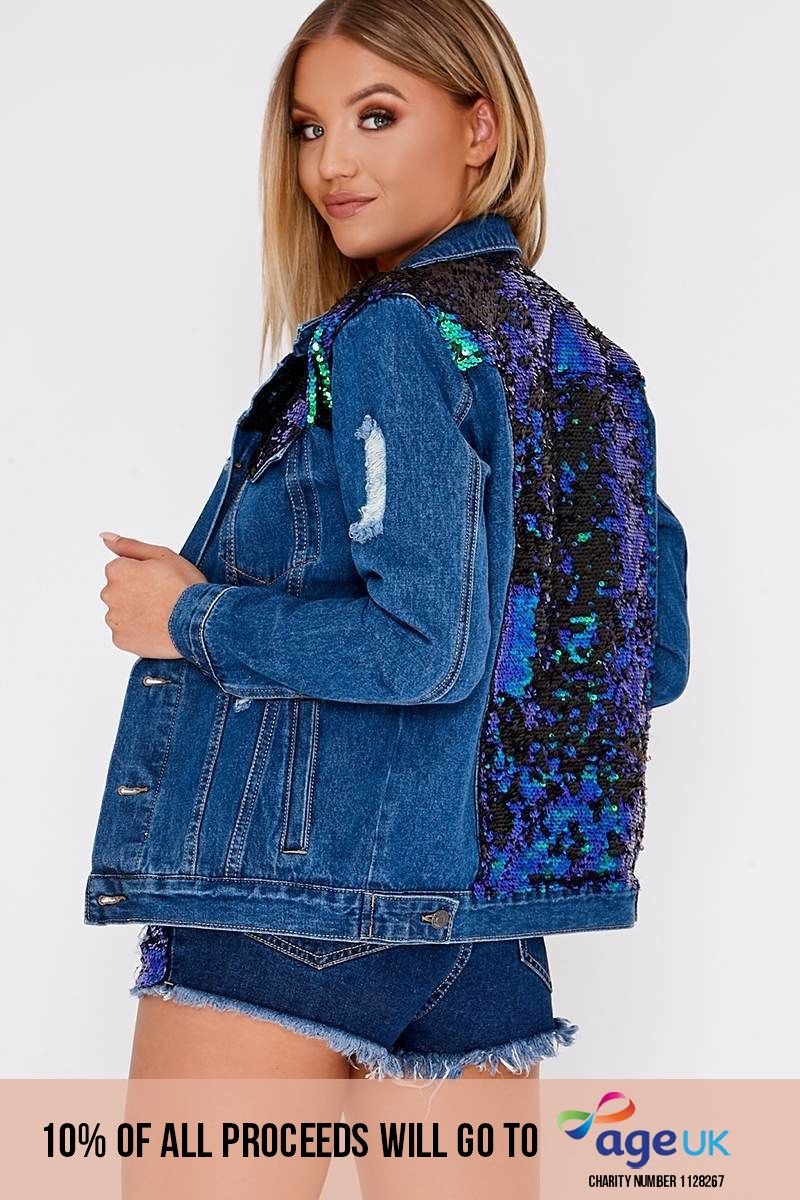 dark wash oversized sequin denim jacket