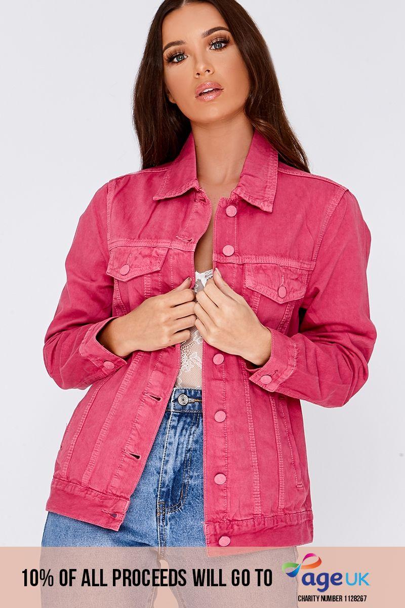 pink pocket detail denim jacket