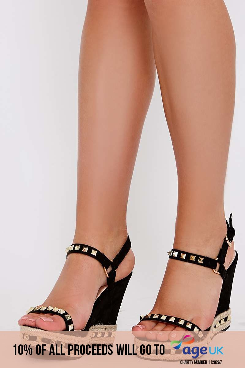 the black faux suede studded wedges