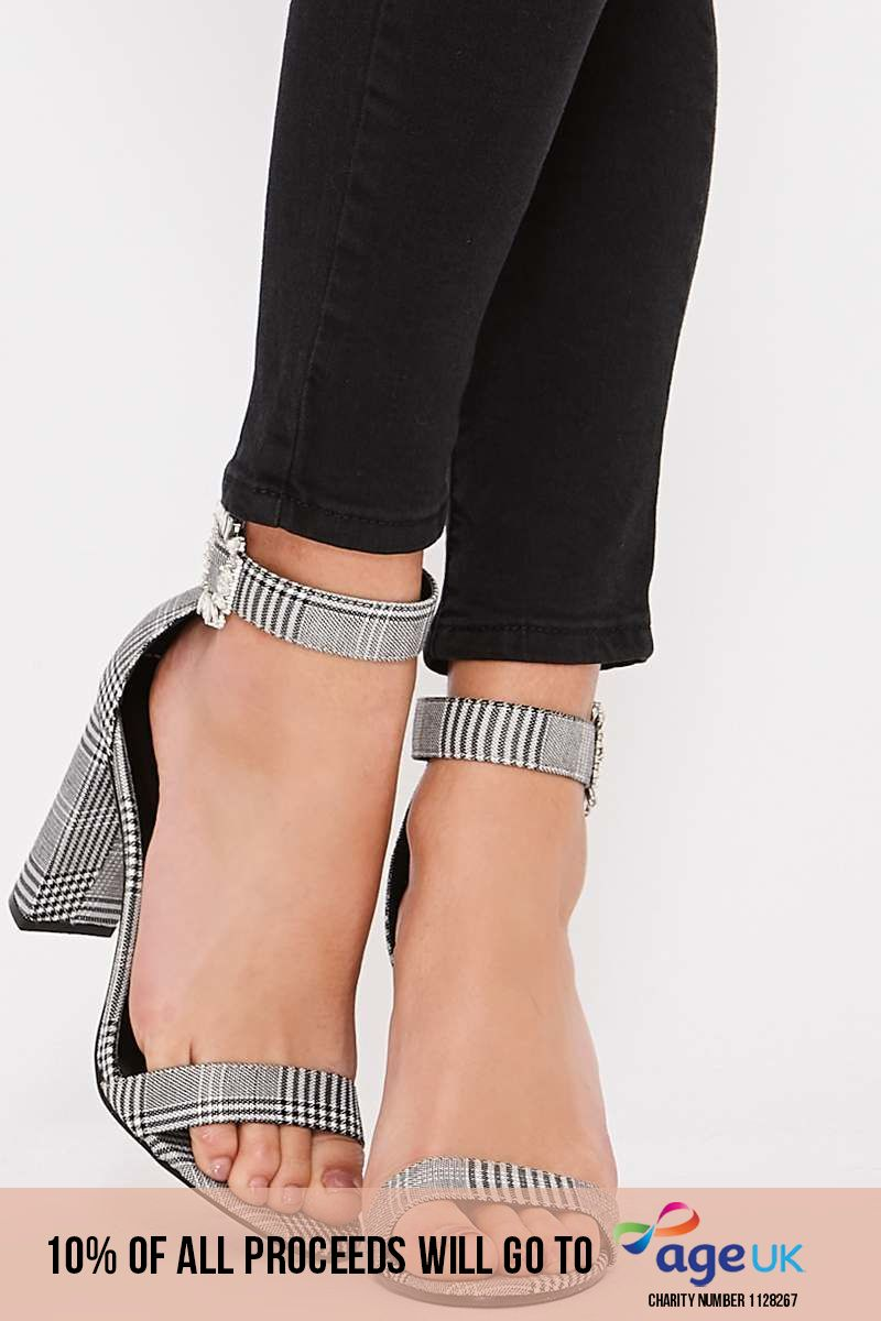 black and white check barely there heels