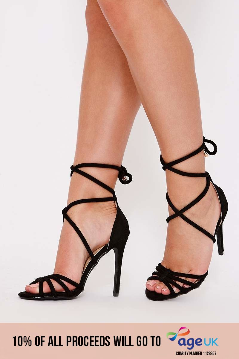 black faux suede strappy tie up leg heels